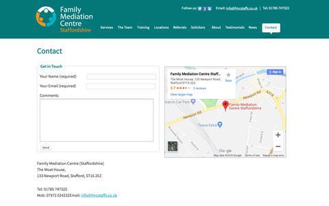 Screenshot of Contact Page fmcstaffs.co.uk - Contact - captured Oct. 10, 2018