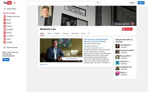 Screenshot of YouTube Page youtube.com - Newsome Law  - YouTube - captured Oct. 26, 2014