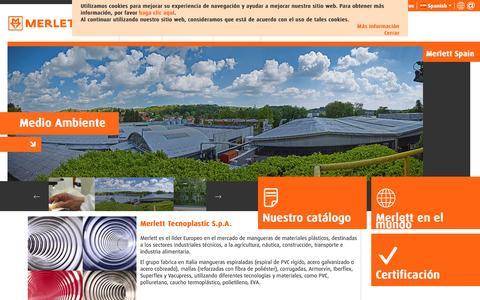 Screenshot of Home Page merlett.es - Merlett Tecnoplastic S.p.A. - Leading manufacturer of flexible plastic hoses - captured April 7, 2016