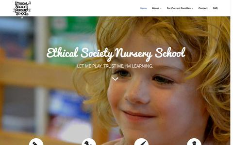 Screenshot of Home Page ethicalsocietynurseryschool.com - Ethical Society Nursery School - captured Sept. 18, 2015