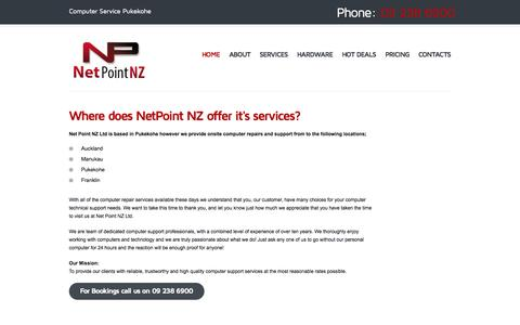 Screenshot of Locations Page netpointnz.co.nz - Computer Service Pukekohe - Virus Removal - Laptop Repairs - Backup and Data Services Auckland - captured Sept. 30, 2014