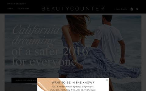 Screenshot of Home Page beautycounter.com - Safe Skincare - Clean Beauty - Join the Movement | THE OFFICIAL BEAUTYCOUNTER SITE - captured Dec. 30, 2015
