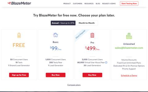 Screenshot of Pricing Page blazemeter.com - Our Performance Testing Platform Pricing | BlazeMeter - captured July 15, 2019