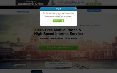 Screenshot of freedompop.com - Mobile Phone Deals + Cheapest Mobile Phone Deals - FreedomPop™ UK - captured June 7, 2017