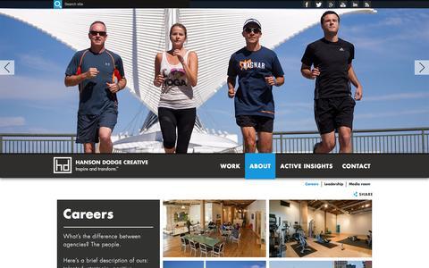 Screenshot of Jobs Page hansondodge.com - Career Opportunities l Hanson Dodge Creative - captured Jan. 14, 2016