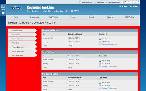 Screenshot of Hours Page covingtonford.net - Dealership Hours at Covington Ford, Inc. - Your Covington, Georgia Ford dealer - captured June 24, 2016