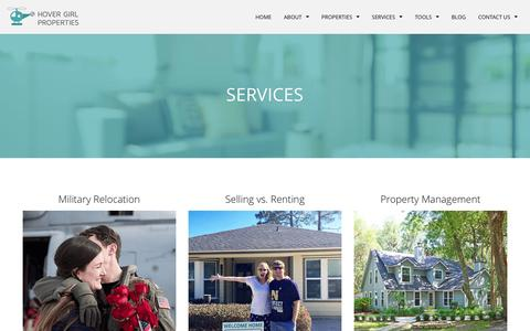 Screenshot of Services Page hovergirlproperties.com - Services - Feel free to contact us if you have any questions related to our services! - captured May 23, 2017