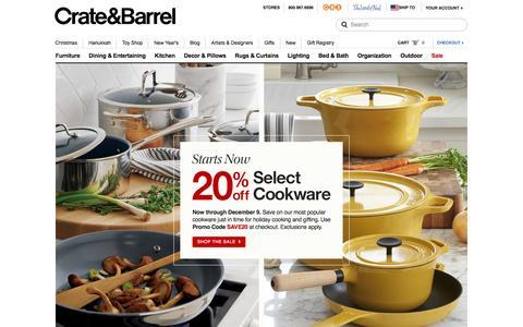 Screenshot of Home Page crateandbarrel.com - Furniture, Home Decor and Wedding Registry | Crate and Barrel - captured Dec. 3, 2015