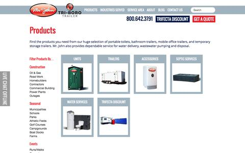 Screenshot of Products Page mrjohnpit.com - Products | Mr. John Portable Toilet Rental - captured Oct. 26, 2014