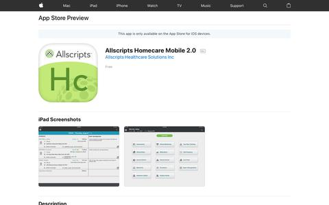 Allscripts Homecare Mobile 2.0 on the AppStore