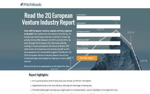 Screenshot of Landing Page pitchbook.com - PitchBook 2Q 2016 European Venture Industry Report - captured July 27, 2016