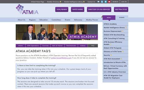 Screenshot of FAQ Page atmia.com - Training Frequently Asked Questions - captured Feb. 5, 2016