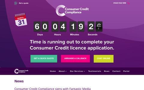 Screenshot of Press Page consumercreditcompliance.co.uk - News - Consumer Credit Compliance - captured Jan. 31, 2016