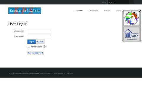 Screenshot of Login Page kalamazoopublicschools.com - User Log In - captured Oct. 16, 2017