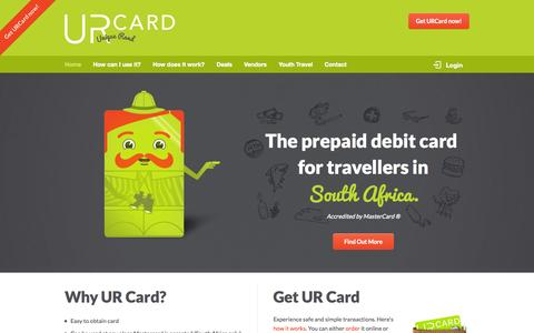 Screenshot of Home Page urcard.co.za - UR Card - The prepaid debit card for travellers in South Africa - Accredited by MasterCard - captured Sept. 30, 2014