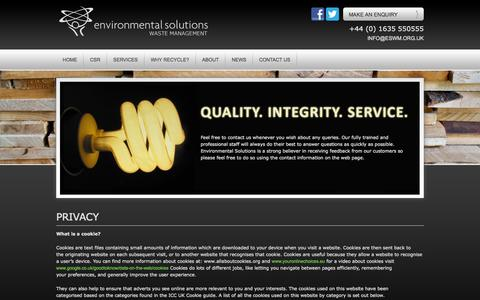 Screenshot of Privacy Page environmental-solutions.org.uk - Privacy - Environmental Solutions Waste Management - captured Oct. 8, 2014