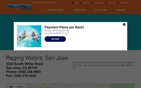 Screenshot of Maps & Directions Page rwsplash.com - Directions   Raging Waters San Jose - captured Oct. 4, 2018
