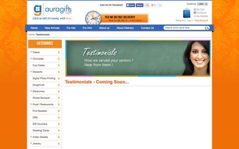 Screenshot of Testimonials Page auragifts.com - Testimonials - captured Oct. 4, 2014