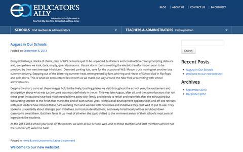 Screenshot of Blog educatorsally.com - Educators Ally Blog | School Placement Agency Blog - captured Sept. 29, 2014
