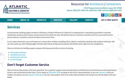 Screenshot of Services Page atlanticmillwork.com - Services | Atlantic Millwork & Cabinetry | Lewes, DE - captured Oct. 4, 2018