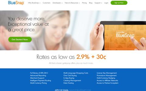 Screenshot of Pricing Page bluesnap.com - Ecommerce Solution Pricing, Payment Gateway Pricing | BlueSnap - captured Oct. 22, 2014
