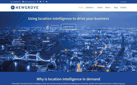 Screenshot of Home Page newgrove.com - Leading expert in location analytics   NEWGROVE - captured Feb. 24, 2016