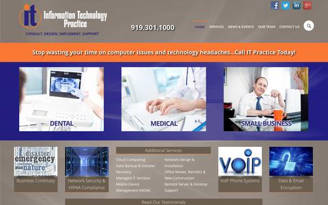 Screenshot of Home Page itpractice.com - Home   IT Practice   Raleigh NC - captured Jan. 24, 2015