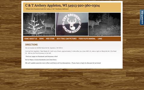 Screenshot of Maps & Directions Page ctarchery.com - DIRECTIONS - C & T  Archery  Appleton, WI 54913    920-360-0304 - captured Sept. 30, 2014