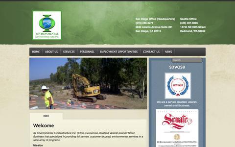 Screenshot of Home Page ioenvironmental.com - Home - IO Environmental & Infrastructure Inc. - captured Feb. 4, 2016