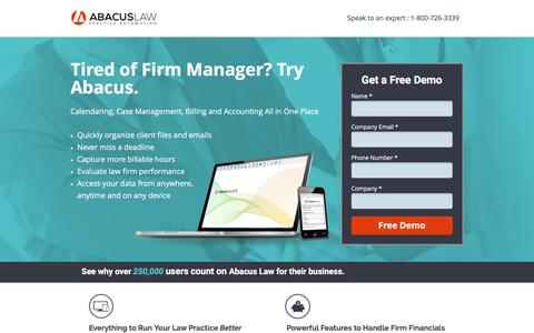 Screenshot of Landing Page abacuslaw.com - Frim Manager User? Try Abacus Law Firm Practice Management Software - captured July 29, 2016