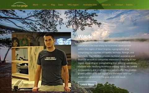 Screenshot of Home Page nrgrda.org - New River Gorge Regional Development Authority NRGRDA - captured Oct. 6, 2014
