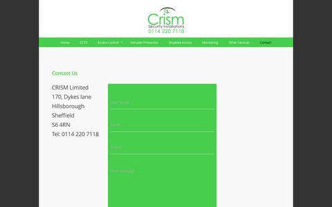 Screenshot of Contact Page crismsecurity.com - Contact | Crism Security - captured Nov. 14, 2016