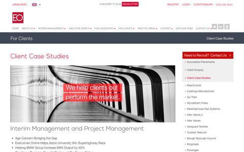 Screenshot of Case Studies Page executivesonline.co.uk - Client Case Studies - Executive Recruitment & Interim Management Experts - captured Sept. 29, 2018