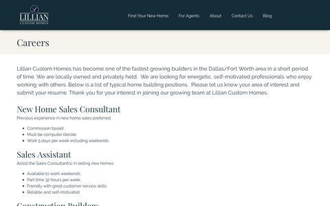 Screenshot of Jobs Page lilliancustomhomes.com - Careers - captured July 19, 2018