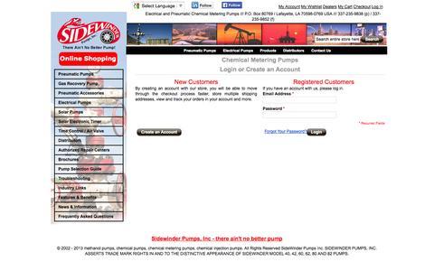 Screenshot of Login Page sidewinderpumps.com - Customer Login - captured Oct. 26, 2014