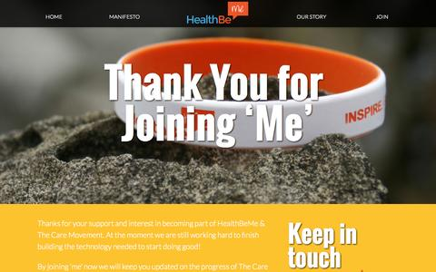 Screenshot of Signup Page healthbe.me captured Oct. 2, 2014