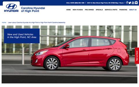 Screenshot of About Page carolinahyundai.com - About Carolina Hyundai of a High Point a High Point NC dealership - captured May 20, 2016