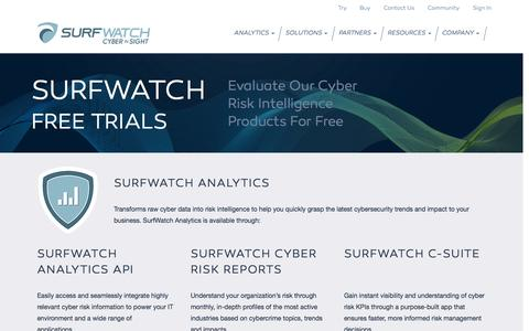 Screenshot of Trial Page surfwatchlabs.com - Cyber Risk Intelligence Solutions for Business - Free Trial - captured Nov. 5, 2014