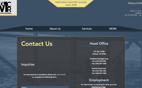 Screenshot of Contact Page mcroilandgas.com - Contact Us - captured Oct. 4, 2017
