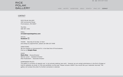 Screenshot of Contact Page Maps & Directions Page Hours Page ricepolakgallery.com - Contact Rice Polak Gallery - Provincetown, Cape Cod, MA 02657, USA | Rice Polak Gallery - captured March 12, 2016