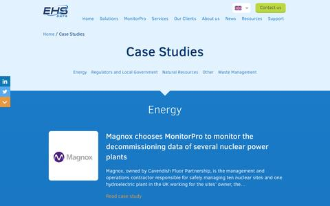 Screenshot of Case Studies Page ehsdata.com - Case Studies - captured Dec. 6, 2015