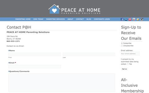 Screenshot of Contact Page peaceathomeparenting.com - Contact Peace at Home Parenting - captured July 8, 2018