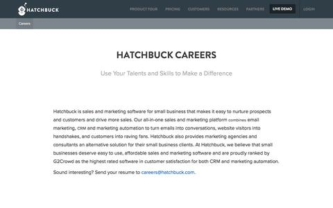Screenshot of Jobs Page hatchbuck.com - Careers - Hatchbuck - captured May 9, 2017