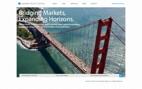 Screenshot of Home Page harborpac.com - Harbor Pacific Capital - captured Oct. 2, 2014