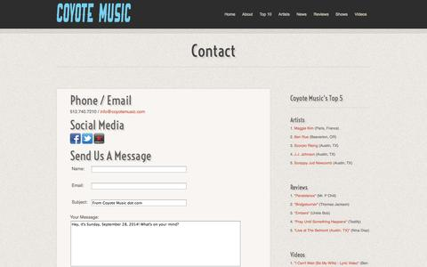 Screenshot of Contact Page coyotemusic.com - Contact :: Coyote Music - captured Sept. 30, 2014