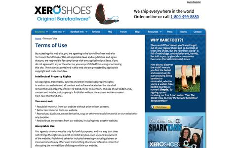 Screenshot of Terms Page xeroshoes.com - Terms of Use - Xero Shoes - captured Sept. 19, 2014