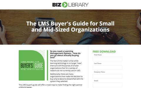 Screenshot of Landing Page bizlibrary.com - LMS Buyer's Guide for Small and Mid-Sized Organizations - captured April 21, 2018