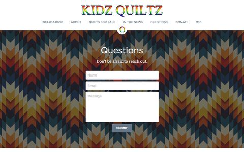 Screenshot of FAQ Page kidzquiltz.org - Questions - Quilts for Kids in Need | Kidz Quiltz - captured May 7, 2017