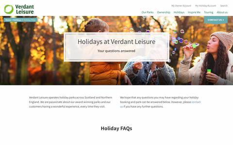 Screenshot of FAQ Page verdantleisure.co.uk - Holiday FAQs   Holidays   Verdant Leisure - captured Jan. 27, 2018