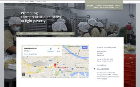 Screenshot of Contact Page sifem.ch - Contact - captured Oct. 3, 2014